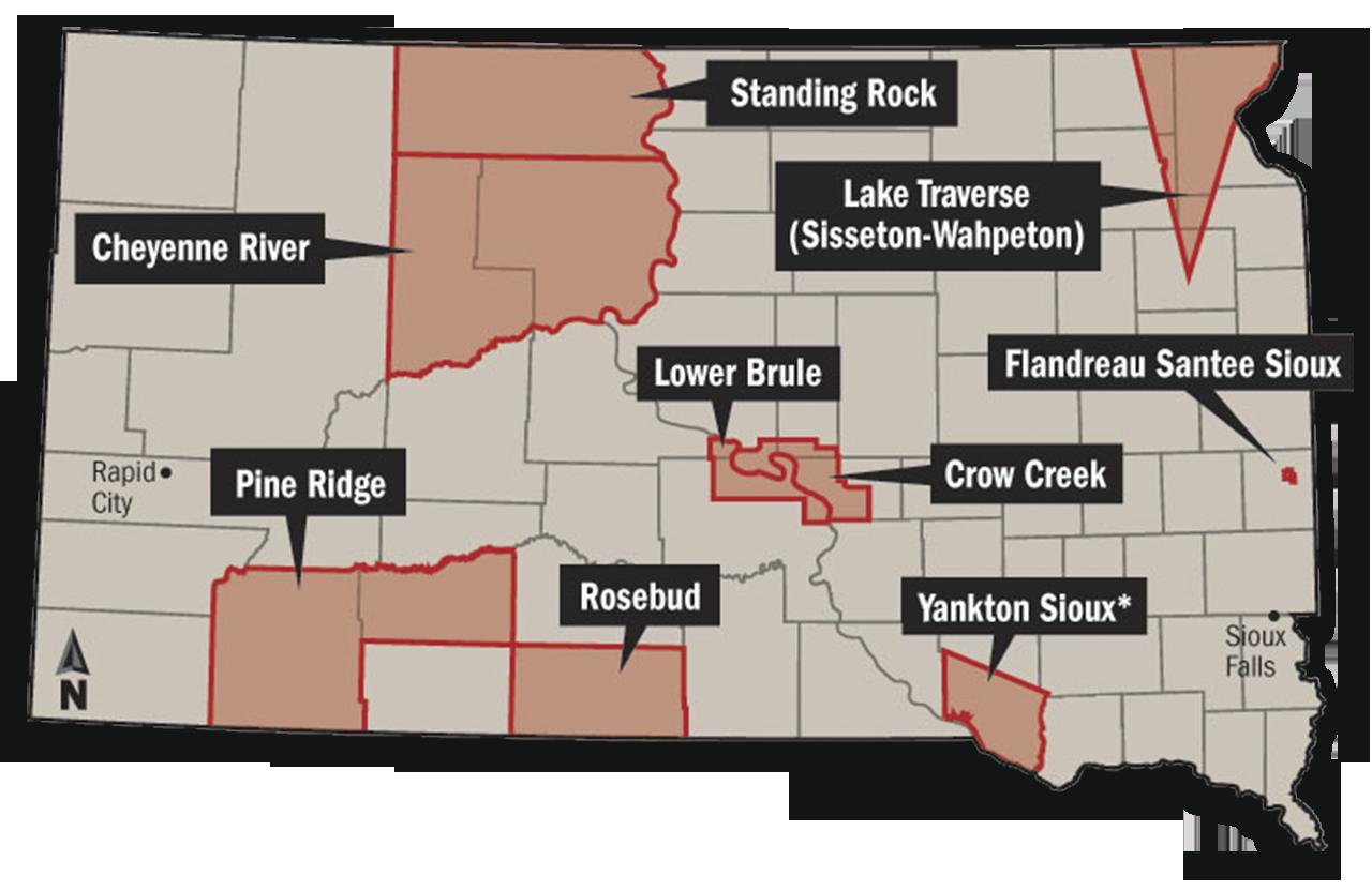 Cartina indiani South Dakota